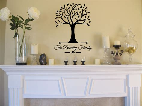 Home Decor Vinyl : Personalized Family Name & Tree Wall Sticker Vinyl Decals