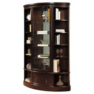 Pulaski Corner Curio Cabinet In Dark Wood by Pulaski Dark Wood Bookcase Curio Cabinet At Hayneedle