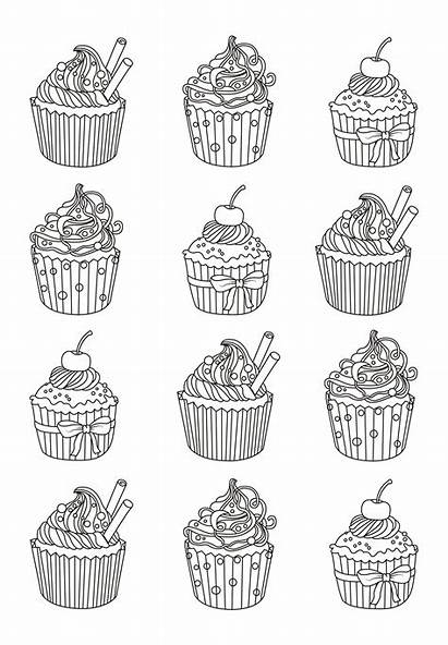 Coloring Cupcake Pages Cupcakes Adults Cakes Easy