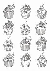 Coloring Cupcake Pages Cupcakes Adult Adults Cakes Cup Easy Cake Celine Many Yum Justcolor Colors Printable Eat Incredible Sweet Warhol sketch template
