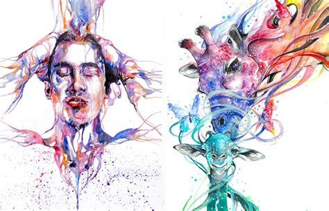 incrivel jogo de cores nas aquarelas  artista