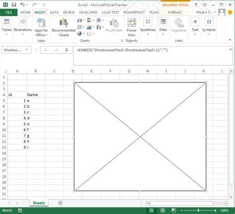 embedding in worksheet in excel 2013