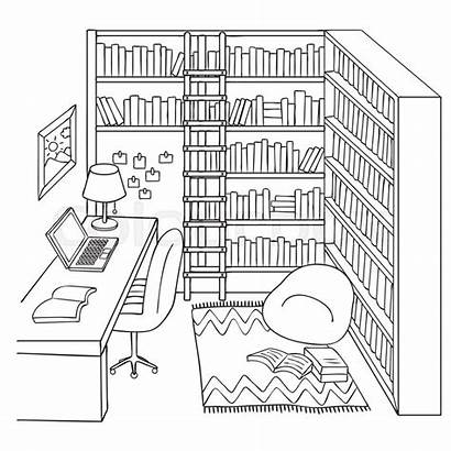 Study Coloring Library Vector Drawn Pages Illustration