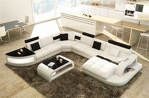 DECO IN PARIS Canape D Angle Design Panoramique Blanc Et