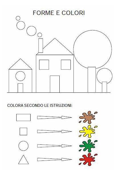 Preschool Forme Shapes Worksheets Apprendimento Colori Attivita
