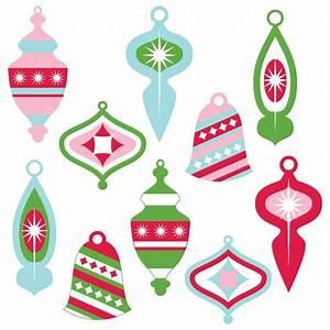 Vintage Christmas Ornaments Clipart