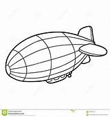 Coloring Airship Cartoon Children Illustration Vector Preview sketch template