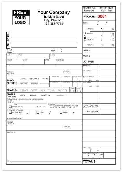 tow service invoice form custom print  towing