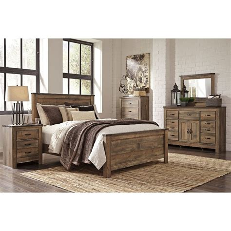 contemporary rustic oak  piece king bedroom set trinell