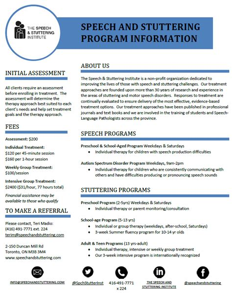 our programs at a glance the speech amp stuttering 767 | SSI Speech and stuttering