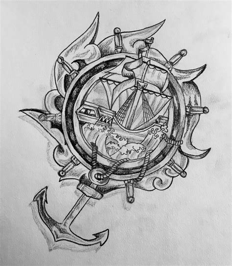 Boat Drawing Tattoo by Anchor Boat Sketch Tattoo Design By Jhughes2016 On Deviantart