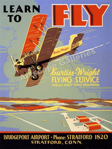 1930 s flying lesson poster quot learn to fly quot vintage style