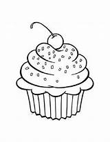Cupcake Coloring Pages Printable Cupcakes Birthday Clipart Cherry Cups Bestcoloringpagesforkids sketch template