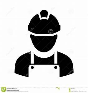 Worker with hard hat icon stock vector. Illustration of ...