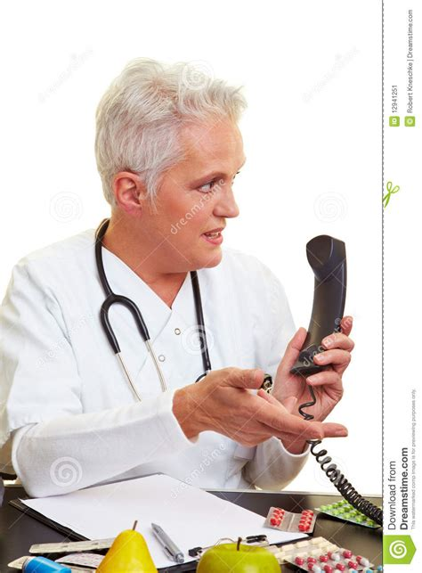 the phone doctor doctor on the phone stock image image 12941251