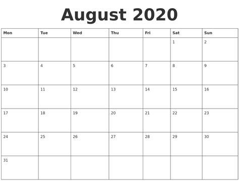 august  blank calendar template