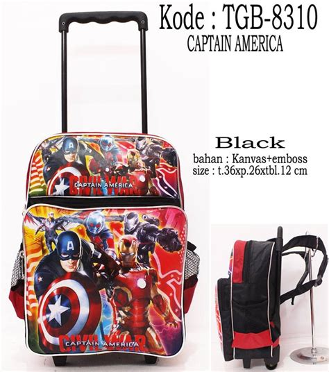 jual tas sekolah roda anak captain america di lapak