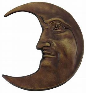 Antique Bronze Finished Cast Iron Crescent Moon Face Wall