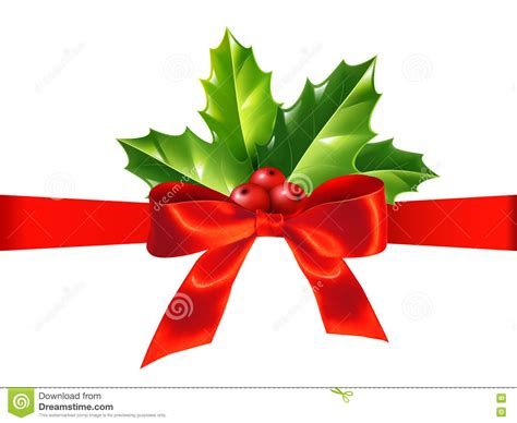 Red Silky Ribbon With Bow And Holly Leaves, Vector