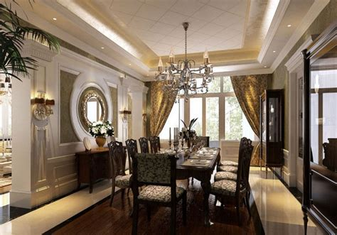 Round Mirrors For Luxury Dining Room With Crystal Ceiling