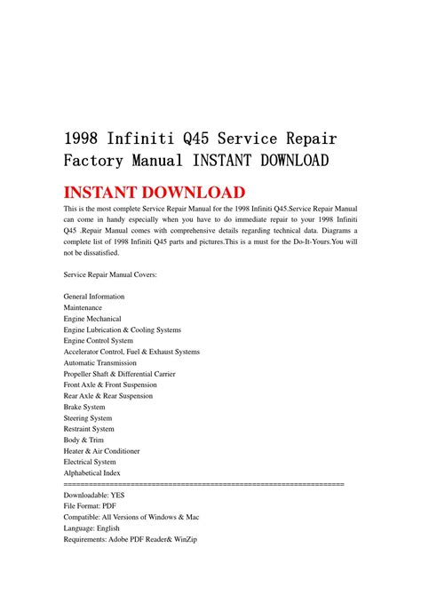 service and repair manuals 1998 infiniti q navigation system 1998 infiniti q45 service repair factory manual instant download by hsgefhseb issuu