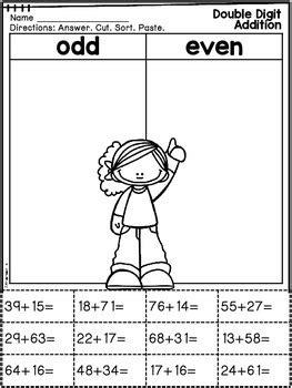 math facts cut paste printables  digit addition