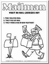 Community Mail Carrier Mailman Helpers Kindergarten Printable Unit Carriers Workers Coloring Letter Template Hat Preschool Poem Office Helper Pages Writing sketch template