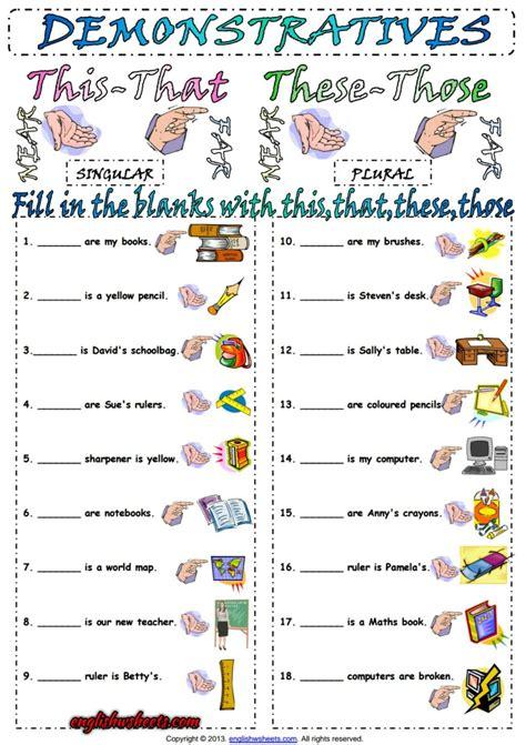 demonstrative pronouns esl exercise worksheet esl printable grammar worksheet and exercises