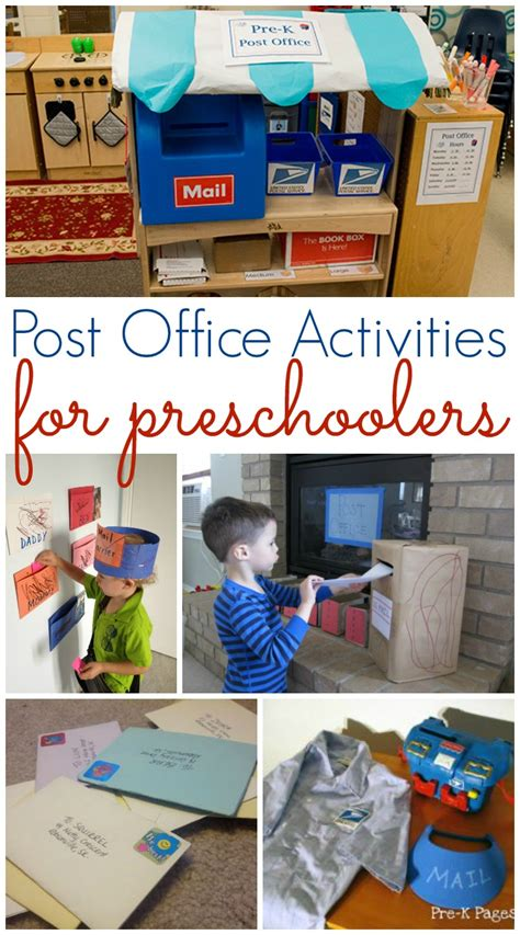 office and mailing activities for preschool pre k pages