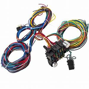 21 Circuit Wiring Harness 17 Fuses Extra Long Wires Color
