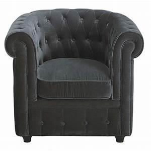 Maison Du Monde Chesterfield : zetel in grijs fluweel chesterfield chesterfield ~ Teatrodelosmanantiales.com Idées de Décoration