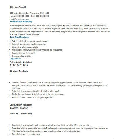sle sales assistant resume 8 exles in word pdf