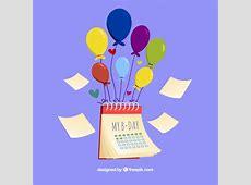 Calendario de cumpleaños con globos Descargar Vectores