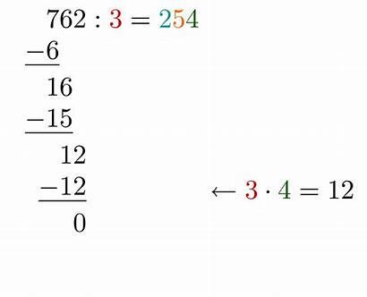 Schriftliche Division Zahlen Ganzer Berechne Subtrahieren