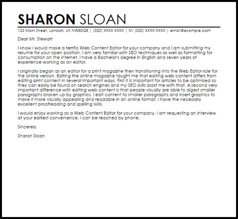 web content editor cover letter sample cover letter