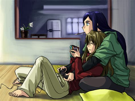 anime couple playing video games checkpoint new year s resolutions 2008 baka raptor