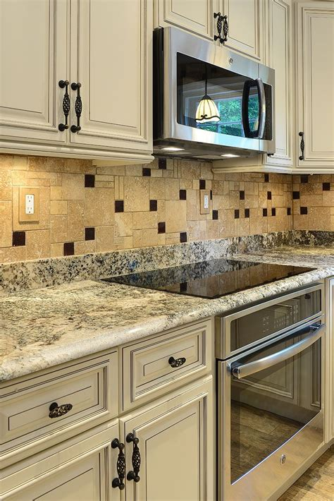 Kitchen Countertop And Backsplash Combinations by Travertine Kitchen Backsplash Tile With Brown Glass