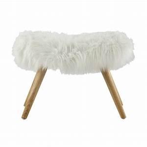 VILMA wood and white faux fur stool Maisons du Monde