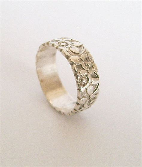 antique sterling silver floral repousse wedding band