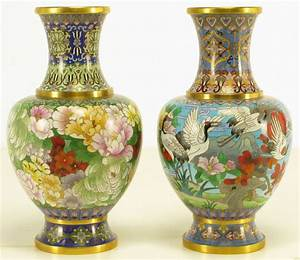 Pair Colorful Chinese Cloisonne Vases at 1stdibs