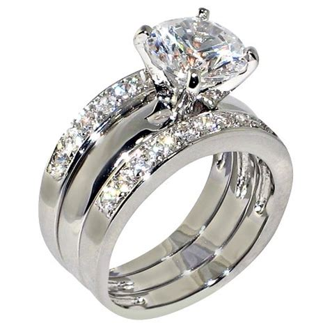 best cz wedding ring sets 3 47 ct cubic zirconia cz solitaire bridal engagement wedding 3 piece ring jewelry