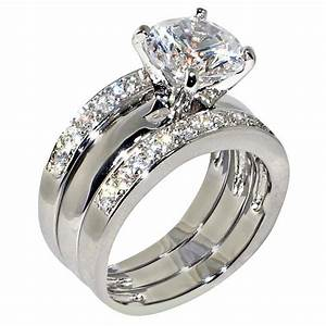 347 ct round cubic zirconia cz solitaire bridal With 3 ct wedding ring set