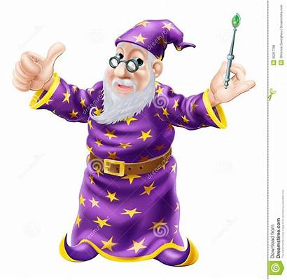 Wizard Illustration Wise Character Happy Holding Wand