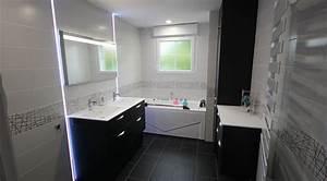 meuble double vasque et coiffeuse sur mesure en noir et With meuble salle de bain avec coiffeuse