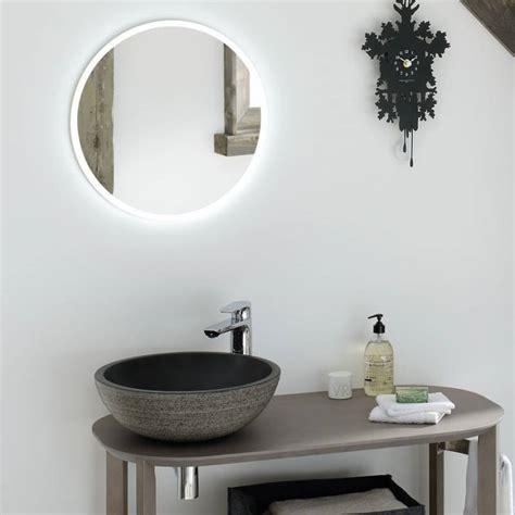 miroir salle de bain lumineux rond time  bath