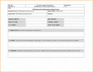 Awesome sample of internal audit summary report form with for Internal audit scope template