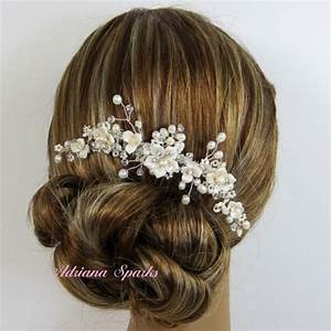 Flower Bridal Comb Allison Hair Comb Pocelain Flower
