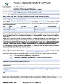 Texas Motor Vehicle Power of Attorney Form