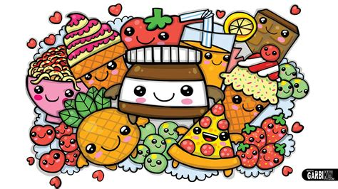 cuisine color free kawaii with faces coloring pages