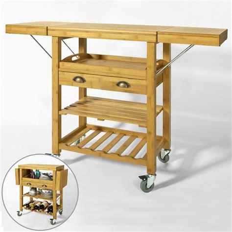 meuble billot cuisine sobuy servierwagen aus hochwertigem bambus küchenwagen